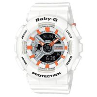 【CASIO】BABY-G時尚百搭系列透氣洞洞設計休閒錶-白X黑面 (BA-110PP-7A2)