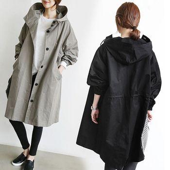 【LANNI】韓版寬鬆英倫風衣外套(長版外套)