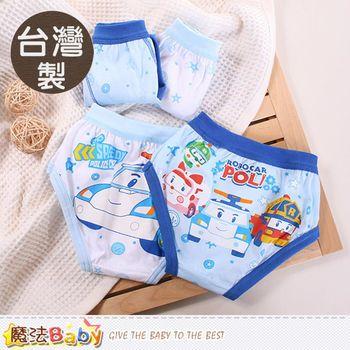 魔法Baby 男童內褲 台灣製POLI授權正版男童純棉三角內褲(四件一組)~k50238