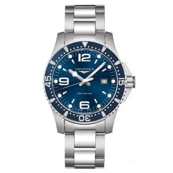 LONGINES 浪琴 征服者300米潛水石英腕錶-藍/44mm L38404966
