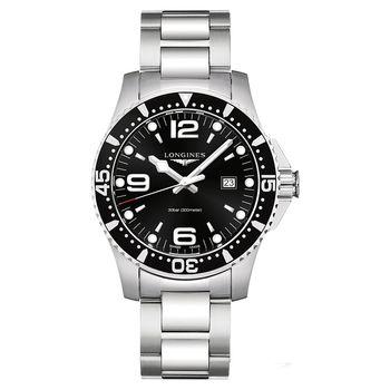 LONGINES 浪琴 征服者300米潛水石英腕錶-黑x銀/44mm L38404566