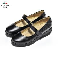 Travel Fox(女)  娃娃愛走路II 輕量牛皮微跟楔型娃娃鞋 - 乖乖黑