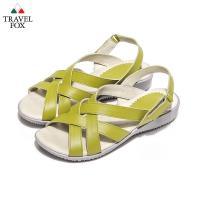 Travel Fox(女) - 義式風情 雙交帶牛皮旅狐休閒涼鞋 - 淺黃