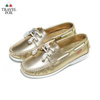 Travel Fox(女) - BABY色調 真皮跳色鞋帶旅狐帆船鞋 - 限量金