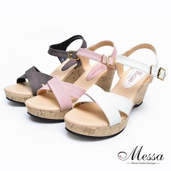 【Messa米莎專櫃女鞋】MIT 素面交叉繫帶楔型高跟涼鞋-三色-型(網)