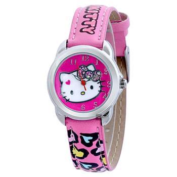 HELLO KITTY 凱蒂貓 夢幻豹紋愛心腕錶-粉/28mm HKFR1220-01C