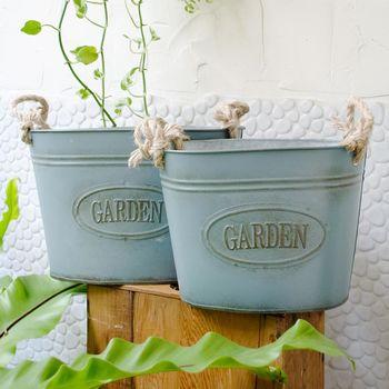Meric Garden 歐式仿舊復古雜貨風鐵藝裝飾花器 (麻提繩鐵盆M/L二入組)