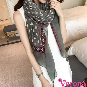 【Verona】文藝印花流蘇加大棉麻絲巾圍巾披肩