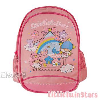 【Little Twin Stars雙子星】KiKiLaLa經典雙層學童後背書包(粉紅色)