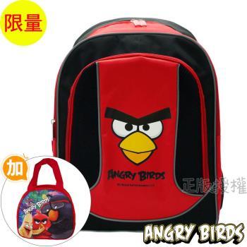 Angry Birds憤怒鳥 經典反光護背三層款書包+彩繪便當袋