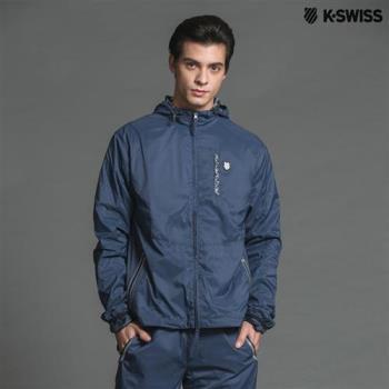 K-Swiss DS Woven Hoodie風衣外套-男-深藍