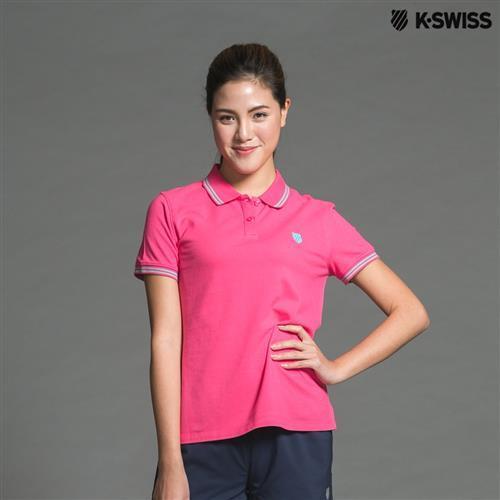 K-Swiss Striped Detail Polo短袖POLO衫-女-桃紅