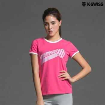 K-Swiss Graphic Tee印花短袖T恤-女-桃紅