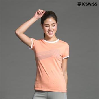 K-Swiss Graphic Tee印花短袖T恤-女-粉橘