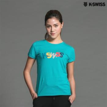 K-Swiss Logo Tee印花短袖T恤-女-綠