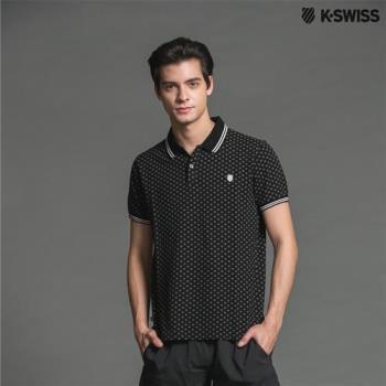 K-Swiss A/O Print Star Polo短袖POLO衫-男-黑