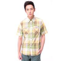 【hilltop山頂鳥】男款Cool Touch吸濕排汗抗UV短袖襯衫S06M58-綠格紋