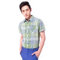 【hilltop山頂鳥】男款Cool Touch吸濕排汗抗UV短袖襯衫S06M59-綠格紋
