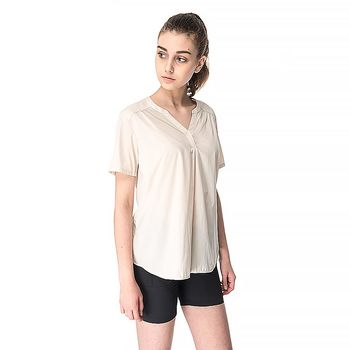 【hilltop山頂鳥】女款吸濕排汗抗UV半開襟V領短袖襯衫S06F53-卡其