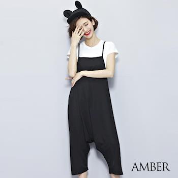 【Amber】韓系時尚休閒男友風款鬆吊帶褲