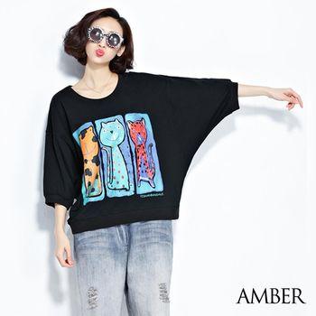 【Amber】日韓系貓咪插畫文青長版上衣