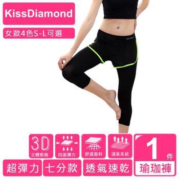 【KissDiamond】透氣排汗假2件7分運動褲(運動/瑜珈/跑步/ 4色 S-L 可選)