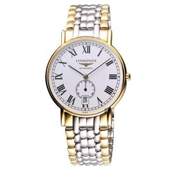 LONGINES Presence 經典小秒針機械腕錶-白x雙色版/38.5mm L48052117