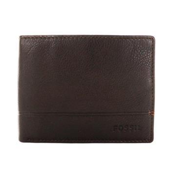 FOSSIL 真皮LOGO壓紋超軟手感 RFID防盜短夾 零錢袋皮夾 棕色