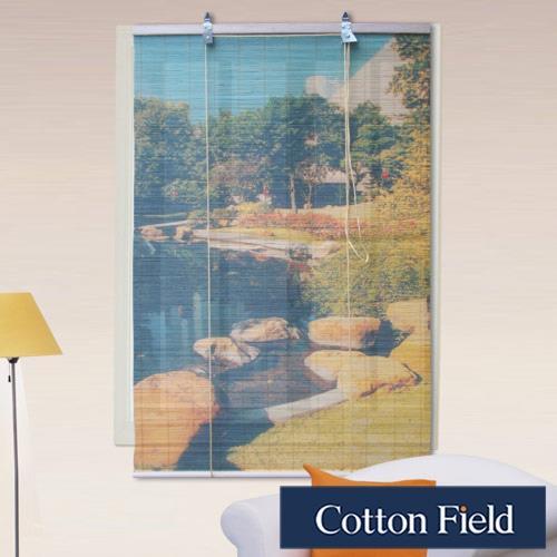 棉花田 池畔-彩色天然竹捲簾90x160cm