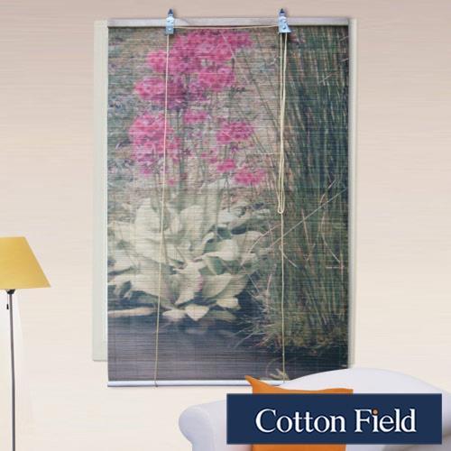 棉花田 花卉-彩色天然竹捲簾120x160cm