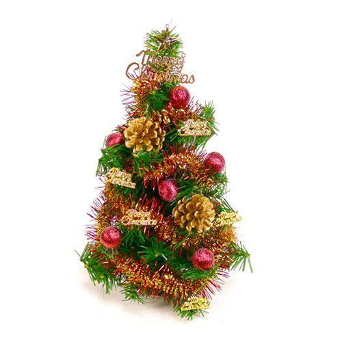 台灣製可愛迷你1呎(30cm)裝飾聖誕樹(紅金松果色系)