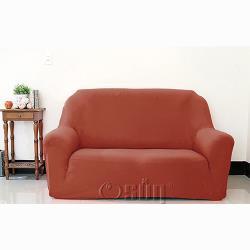 Osun-一體成型防蹣彈性沙發套/沙發罩_2人座 素色款 典雅咖