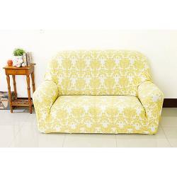 Osun-一體成型防蹣彈性沙發套/沙發罩_2人座 圖騰款 多子多孫-米色緹花