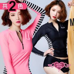天使霓裳 泳衣 初夏俐落 二件式水母衣防曬長袖泳裝(共兩色M~XL) DM1702