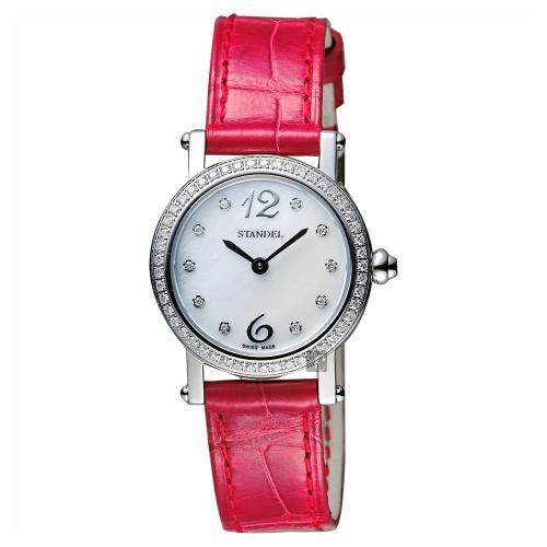 Standel詩丹麗60週年系列真鑽女錶珍珠貝x紅28mm6S1604-321DS-WM/