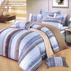 艾莉絲-貝倫 牧羊人(6.0呎x6.2呎)雙人加大六件式(100%純棉)鋪棉床罩組(紫藍色)