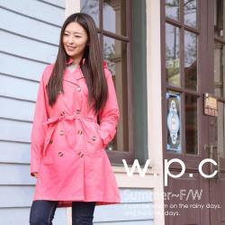 w.p.c.雙排釦連帽款 時尚雨衣/風衣(R1019)-桃紅