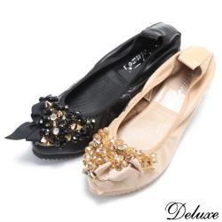 【Deluxe】全真皮華麗蝴蝶結水鑽尖頭柔軟包鞋(黑☆米)-345-2
