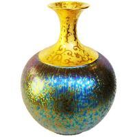 【開運陶源】  (大美人瓶)繽紛人生聚寶盆禮品~郭明本錳七彩結晶釉鎏金瓶
