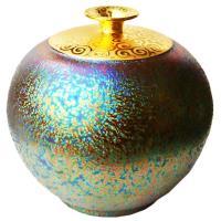 【開運陶源】  (大圓球瓶)繽紛人生聚寶盆禮品~郭明本錳七彩結晶釉鎏金瓶
