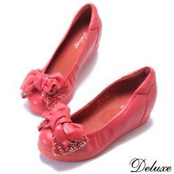 【Deluxe】全真皮閃耀美型蝴蝶結增高包鞋(紅)-278-7