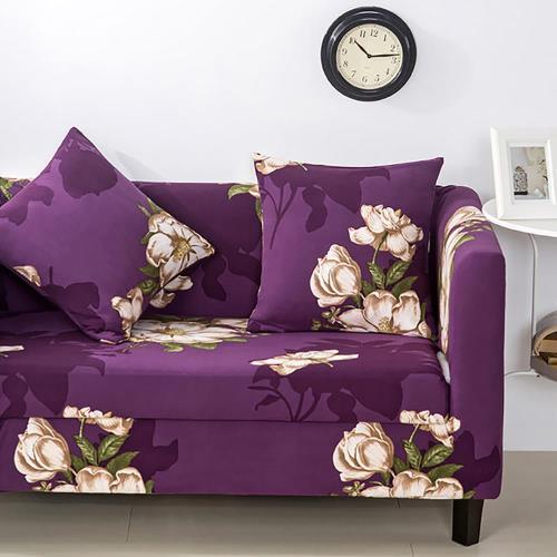 挪威森林 沙發套/沙發罩 舒適彈性紫色花園(單人座)