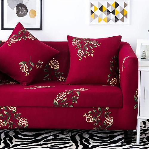 挪威森林 文藝復興舒適彈性沙發套 沙發罩 單人座 贈一個抱枕套