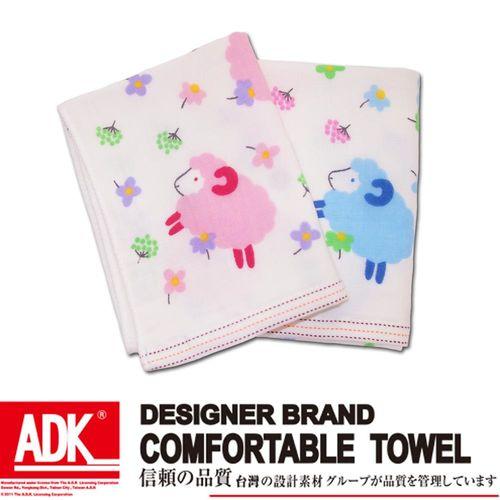 ADK- 可愛綿羊印花紗布童巾(12件組)