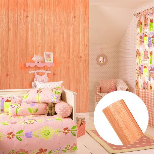 韓國3D立體DIY仿木紋壁貼/仿檜木紋壁貼 (橘色)245x100cm