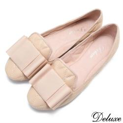 【Deluxe】全真皮法式淑女蝴蝶結菱格娃娃鞋(米)-A06-109