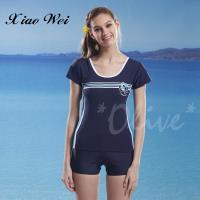 泳之美 亮麗花朵時尚加大碼二件式短袖泳裝 NO.2291-3L