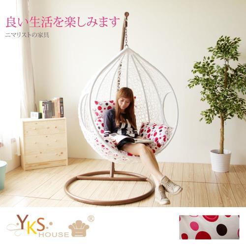 【YKS】樂活點點單人休閒吊籃椅