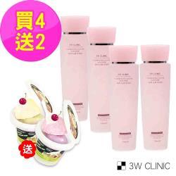 韓國3W CLINIC 極緻透光嫩白保濕化妝水 150ml x 4入(贈冰淇淋潔顏乳霜83gx2)