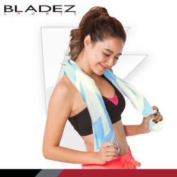 【BLADEZ】 雙色緹花純棉運動毛巾-藍